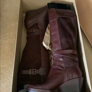 Leather Tall Boots -Wedge Heel